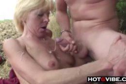 Nephews Sneak Grandma away for a Threesome