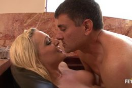 Pretty babe rides older big cock and gets big pussy creampie
