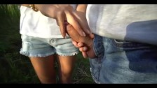 Sexy legs milf makes hot handjob on her hot horny ex boyfriend