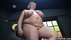 Fat girl rides his horny boner