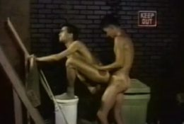 Gay males with skinny bodies enjo blowjobs and butt slam