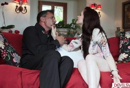 Hot babe fucked by boss and his wife