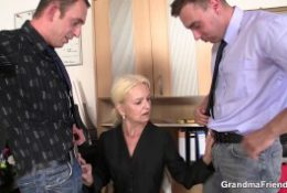 two dudes fuck hot blonde busty granny on interview