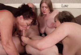 3 Old Busty Dirty British Grannies Bareback Orgy with Toyboy – Big Facial