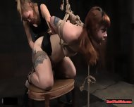Ginger BDSM Sub Caned While Bound