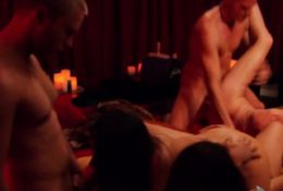 Sexy swingers are having a steamy and hot orgy downstairs.