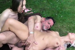 Grandpa gets in threesome sex with young beauties