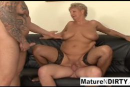 Granny needs two cocks to be satisfied!