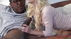 80lb blonde takes on 12 inch Biggest black cock!