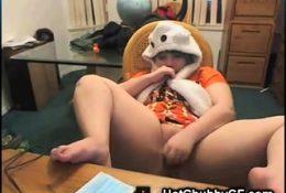 Chubby Emo Teen on Skype!