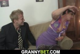 her shaggy hairy pussy is filled with hot man meat