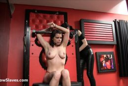 Latina slaveslut Demi dominated in lesbian bdsm and cruel dom