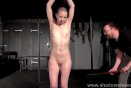 Bald Eryn Rose suspension bondage whipping and rope works