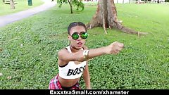 ExxxtraSmall – Cute Tiny Ebony Bounces on Big Cock