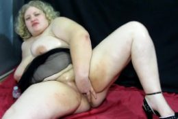 fat girl with hairy by a pussy and big tits masturbates