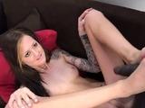 Kinky slut tugging black dick