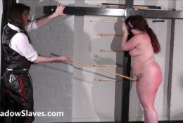 Bullwhipped bbw masochist Nimues spanking to tears and tied