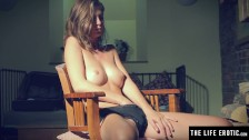 Masturbating with a finger in her hairy pussy and tight asshole