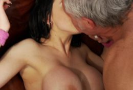 Pretty Louise Jenson fucking threesome with old man