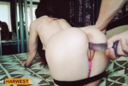 GrandHarwest. Girl with a big ass has double pleasure