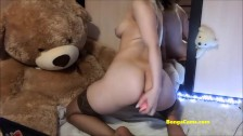 Spicy brunette BongaCams girl cums from anal penetration