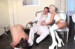 Princess Bitchy Barbie give her master a handjob and cuckold joschi need clean his boots