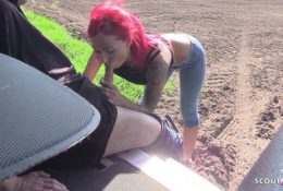 German Hooker with Red Hair Caught Sex Outdoor and Creampie Finish Indoor