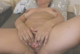 mature wife is playing with her big meaty cunt