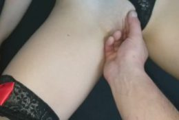 Asian girlfriend in red lingerie and black stockings got a cumshot on her legs and pussy