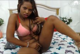 Barely legal ebony teen with hairy pussy