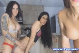 Sexy Shemales In A Threesome Sex Show