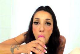 Brunette Latina with tattoos runs her mans cum