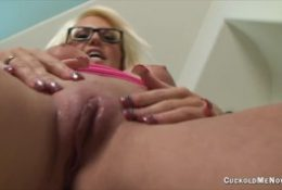 Jacky Joy is a hot wife with a pussy filled with creampies and tells you to suck it out or you never getting out of chastity