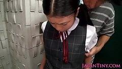 Innocent asian schoolgirl tasting cum closeup