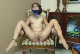 Tiny Teen tied up has multiples orgams with lovense vibrator
