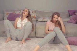 2 GIRLS MASTURBATE ON CAMERA AND SQUIRT IN LEGGINGS