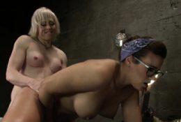 Blonde TS anal fucks brunette mechanic
