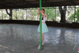 Cute Girl Street Pee and Pole Dance