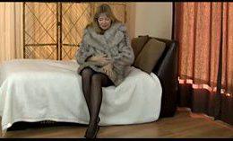 Naughty Granny In A Fur Coat Masturbating