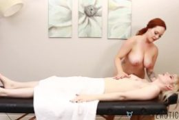 Busty Babe Massages Attractive Shemale