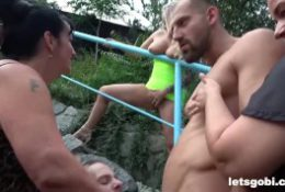 Old vs Young Bisexual backyard Fuck Fest