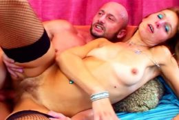 Rough Sex for Slim Ginger Granny by Huge Cock Young Guy