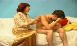 Russian Auntie Catches Her Nephew Jerking