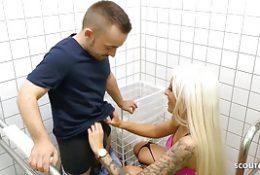 Freaky Midget Dwarf Fucks Sexy German Teen on Public Toilet