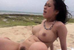 Kyouko Maki sucks man dick then fucks in sexy outdoor