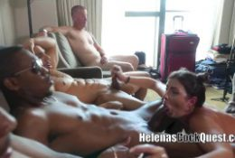 My BIG BLACK COCK GANGBANG With Cuckold Hubby in Chastity Eats Creampie!