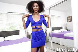Horny ebony teen Riley King with long legs getting hammered